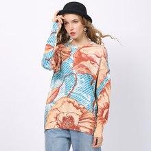 Женский свитер оверсайз зимняя одежда пуловер с цветочным принтом