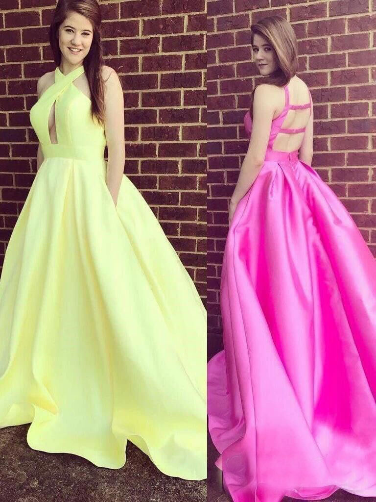 2020 Long Satin Prom Dresses with Pockets Sleeveless Backless Evening Party Ball Gowns Robe De Soire