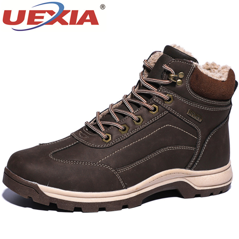 UEXIA Outdoor Shoes Men Winter Boots High Quality Waterproof Winter Fur Warm Ankle Snow Winter Rubber Boot Men Sneakers Big Size