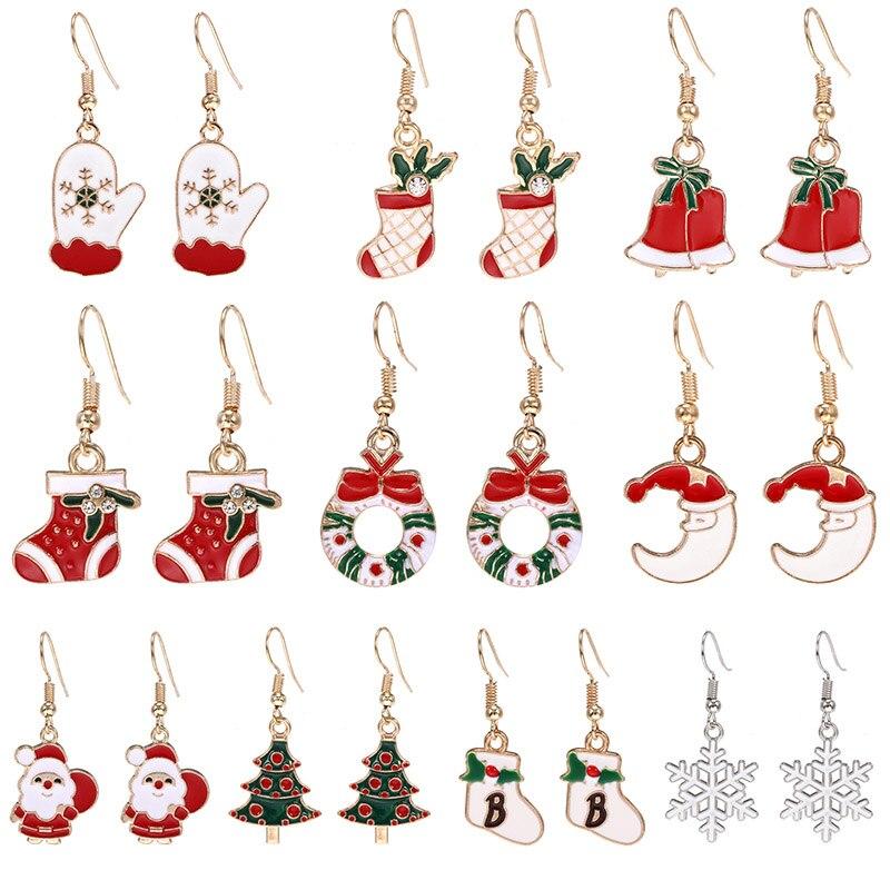Рождественский подарок Санта Клаус Рождественская елка Гирлянда Снежинки Висячие серьги для женщин 2020 массивные модные ювелирные изделия ...