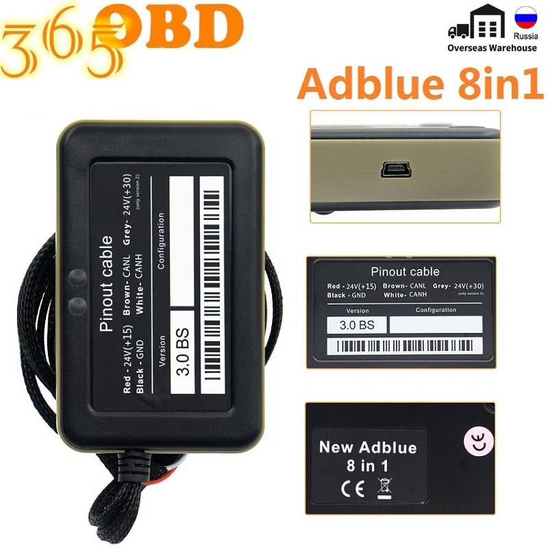 Высококачественная эмуляционная коробка Adblue 8 в 1 с программирующим адаптером + Adblue 9 в 1