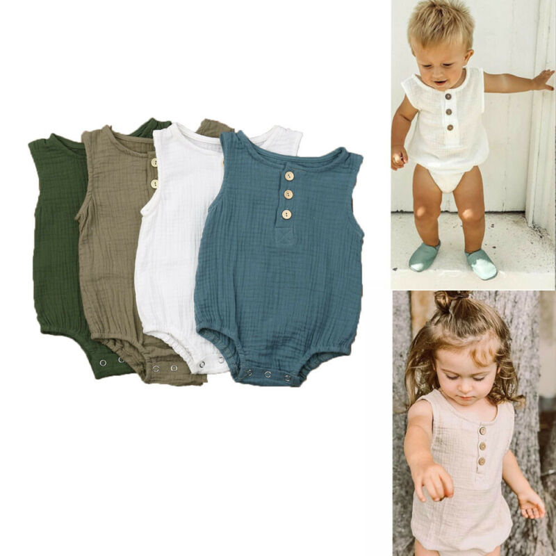 Toddler Baby Girl Boy Kid Sleeveless Cotton Romper Summer Cloths Jumpsuit Outfit