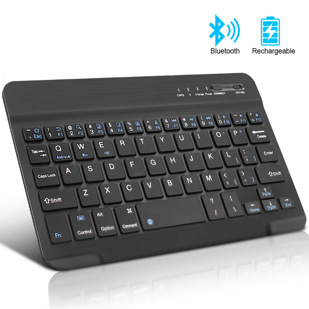 Mini Keyboard Nirkabel Bluetooth Keyboard untuk iPad Ponsel Tablet Karet Tombol Rechargeable Keyboard untuk Android IOS Windows