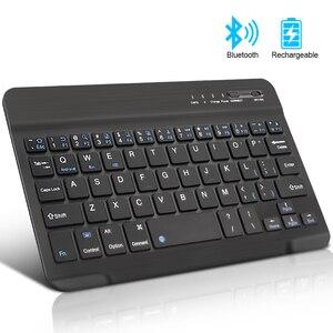 Беспроводная мини-клавиатура, Bluetooth-клавиатура для ipad, телефона, планшета, резиновые колпачки клавиш, перезаряжаемая клавиатура для Android, ios, ...