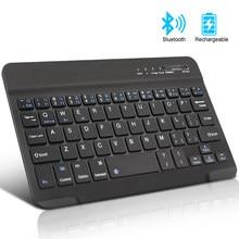 Mini kablosuz klavye Bluetooth klavye için ipad telefon Tablet rus İspanyolca şarj edilebilir klavye Android ios Windows için