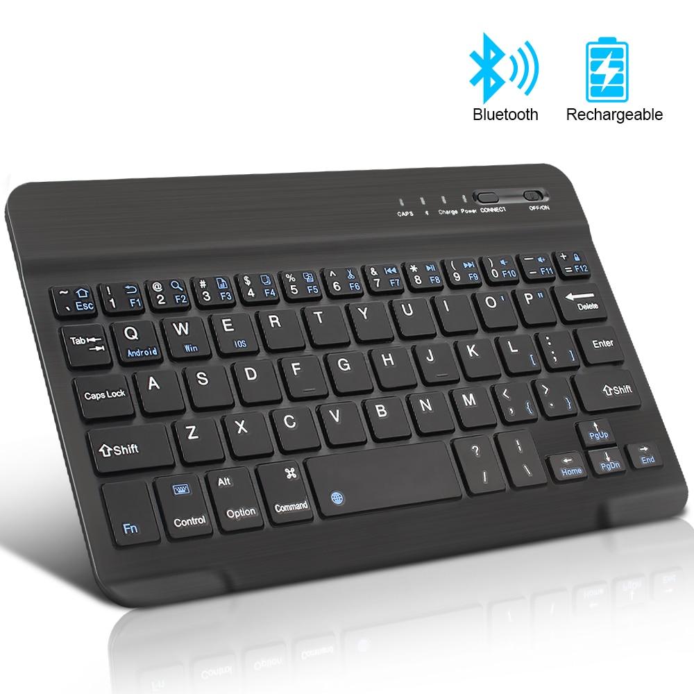 Mini kablosuz klavye Bluetooth klavye için ipad telefon Tablet kauçuk keycaps şarj edilebilir klavye Android ios Windows için