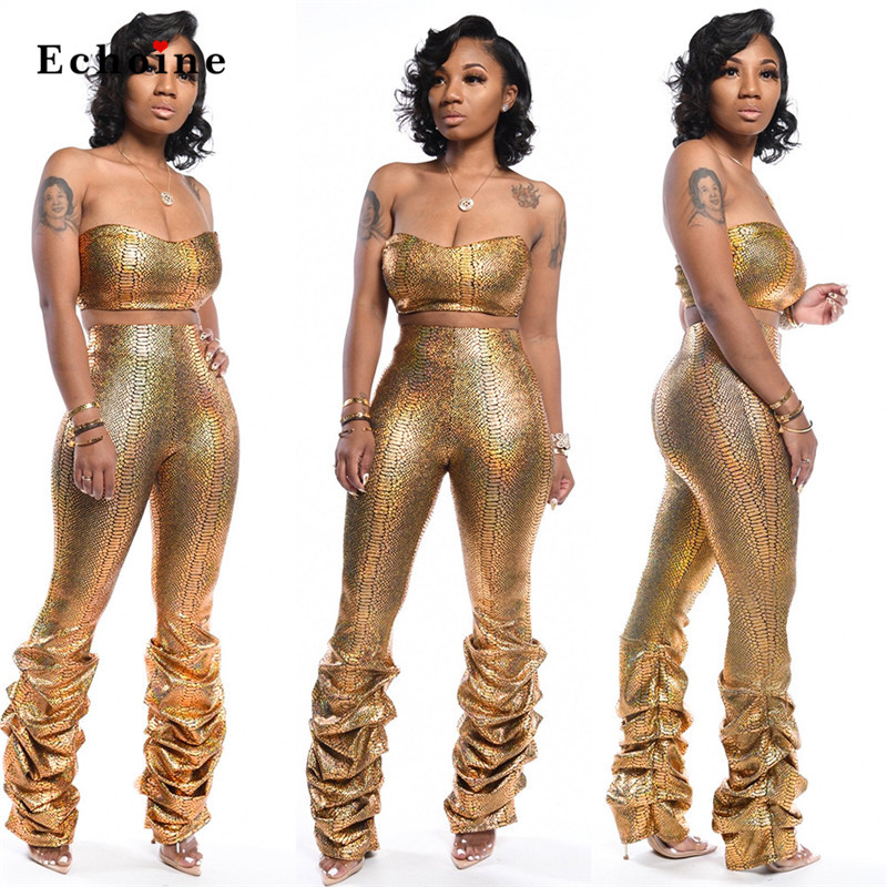 Women Sexy 2 Pcs Set Charm Gold Snake Print Strapless Sleeveless Crop Tops Suits Chic Lady Pleated Long Pants Night Club Clothes
