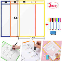 Erasable Dry Erase Board Write Delete File Dry Erase Pockets Drawing Teaching Practice Board Writing White Board markers For Kid