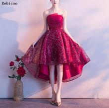 2019 New Elegant Formal party Dress Off the Shoulder Red Carpet Party Short Front Long Back Prom Dresses robe de soiree