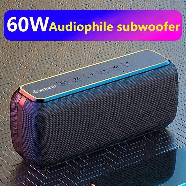 60W anti-drop bluetooth speaker waterproof portable column bass speaker subwoofer super bass USB/TF card music center sound bar