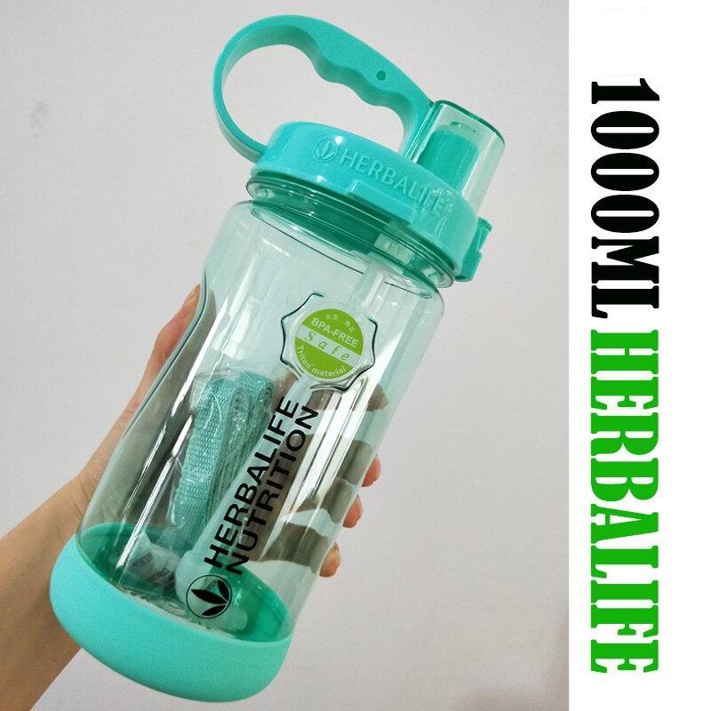 Çok renkli 1000/2000ml BPA ücretsiz gri gül kırmızı taşınabilir Herbalife beslenme plastik spor yürüyüş spor saman su şişe
