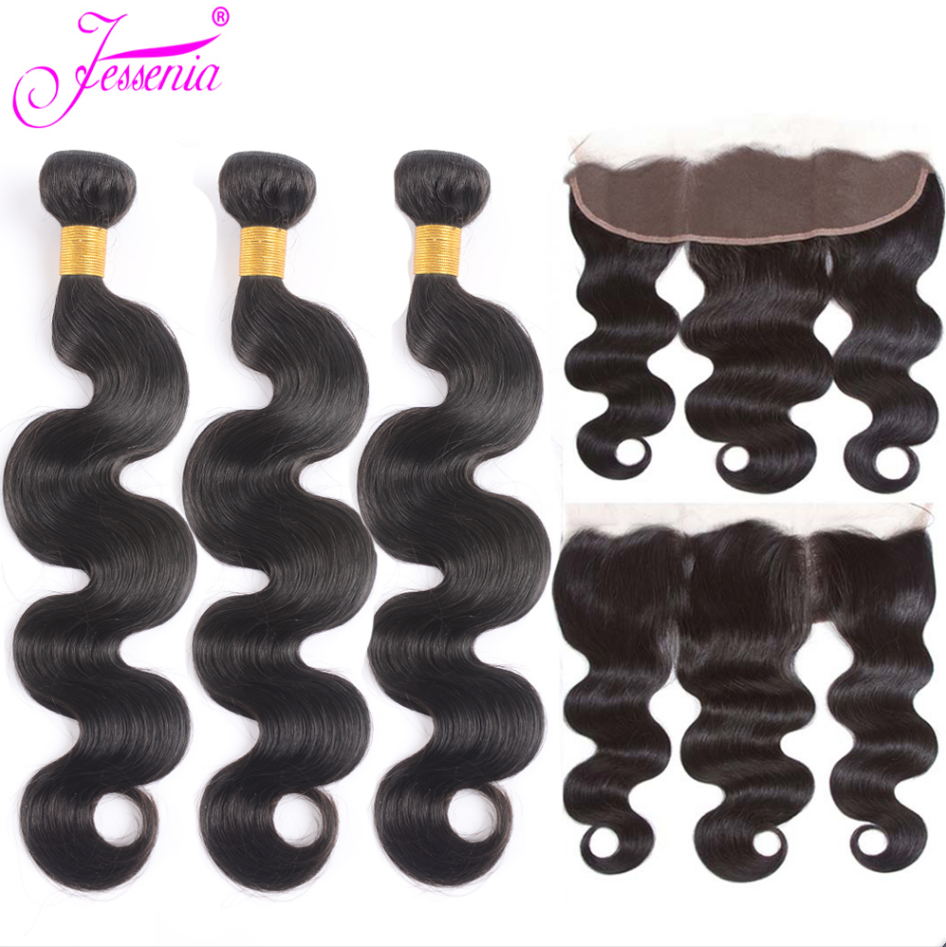 Body Wave Bundles with Frontal Closure Peruvian Hair Bundles with Closure Remy Human Hair Bundles with 13*4 Ear to Ear Closure