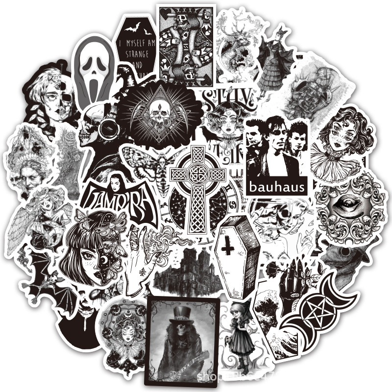 50 Pcs Black And White Gothic Style Girl And Skull Stickers Graffiti Sticker For Laptop Luggage Car Styling Guitar LD