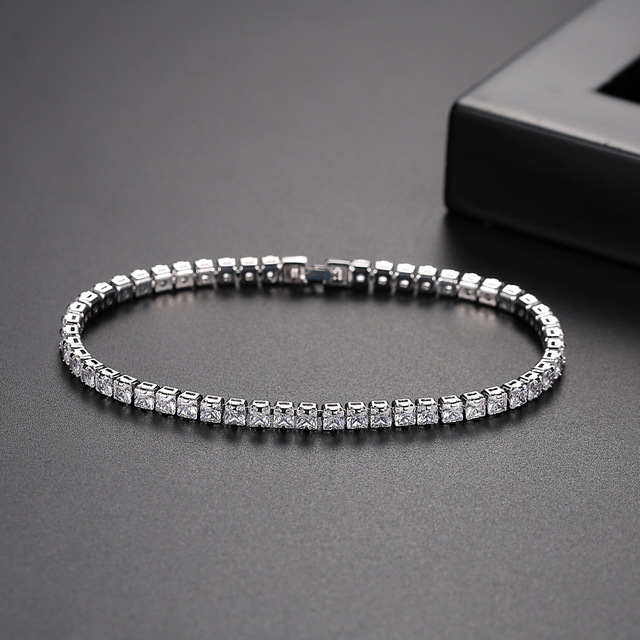 925 sterling silver 3mm 5MM 17cm 19CM CZ tennis bracelet bangle for women wedding fashion jewelry wholesale Christmas gift S5650