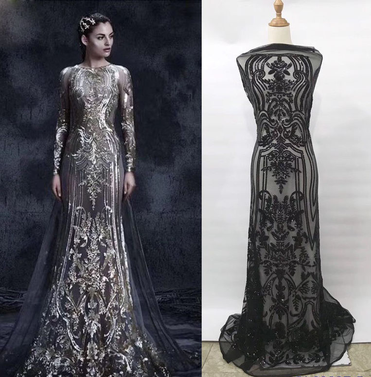 Tailor Shop Round Neck Sequins Embroidered Fashion Evening Dress Skirt Lace Lace Fabric Wedding Dress Lace Brown Sequin Lace