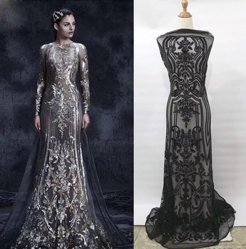 цена на tailor shop Round neck sequins embroidered fashion evening dress skirt lace lace fabric wedding dress lace brown sequin lace