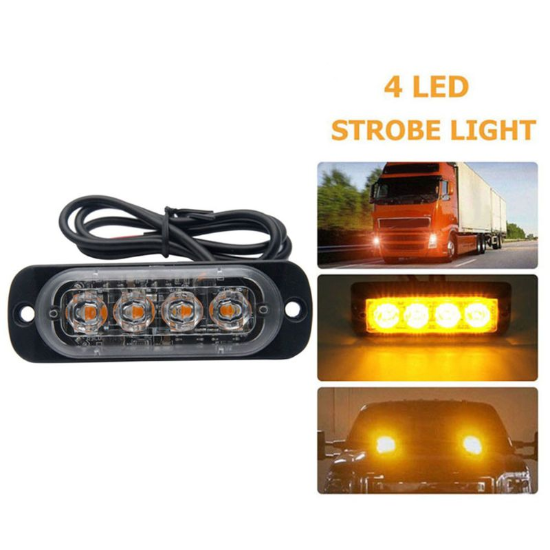 12V 24V 4LED Car Emergency Light Flashing Led Strobe Light For Truck Amber White