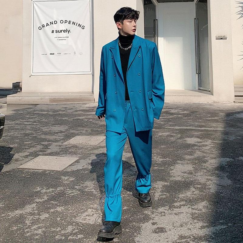 Men 2 Piece Suits Sets (jacket+pant) Male Streetwear Vintage Fashion Hip Hop Loose Casual Blazer Jacket Suit Coat Stage Costumes