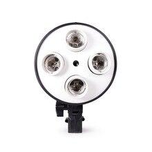 4で1 E27ベースソケットライトランプ電球ホルダーアダプタ写真ビデオスタジオソフトボックス