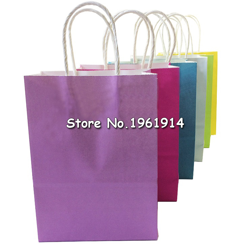 10Pcs/lot Festival Gift Kraft Paper Bag Shopping Bags DIY Multifunction Candy Color Paper Bag With Handles 21x15x8cm