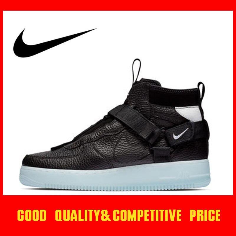 Original authentique NIKE AIR FORCE 1 utilitaire mi 2019 chaussures de skate pour hommes nouvelles chaussures de sport de plein AIR tendance sauvage AQ9758-001