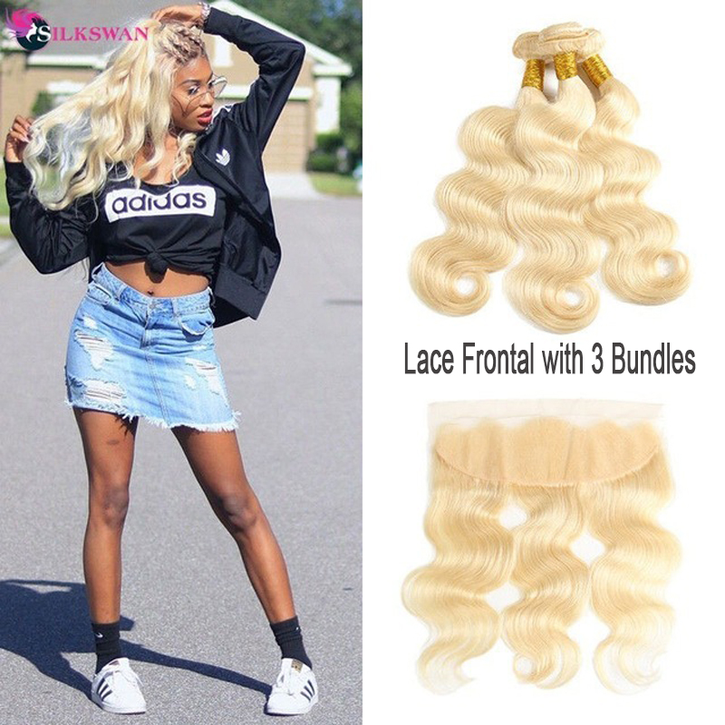 Silkswan Blonde <font><b>Hair</b></font> Wefts <font><b>3</b></font> <font><b>Bundles</b></font> with Frontal 13*4 Ear to Ear Lace Closure Brazilian Human <font><b>Hair</b></font> #<font><b>613</b></font> Remy <font><b>Hair</b></font> Extensions image