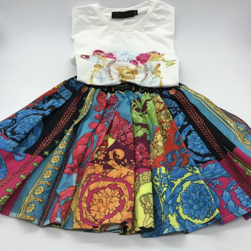 2020 Summer Cotton White Top Letter Pattern+Colorful Flower Blue Skirt Clothing Set For Girl Kids Cotton Party Clothing Set|Clothing Sets| - AliExpress
