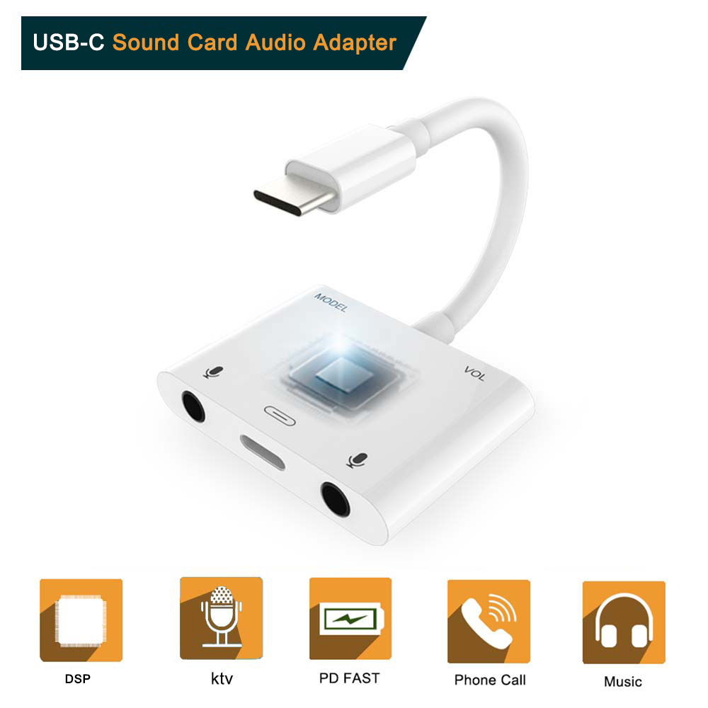 USB-C to Voice Beauty Audio Adapter Type C to Dual 3.5mm Jack  Audio Adapter Music Converter Connector THT-010+