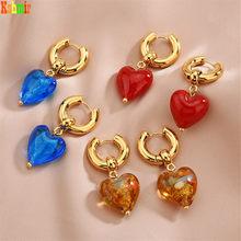 Kshmir – boucles d'oreilles vintage pour femmes, rose clair/glaçure colorée/coeur/transparent/bleu, cadeau de bijoux pour filles, 2021