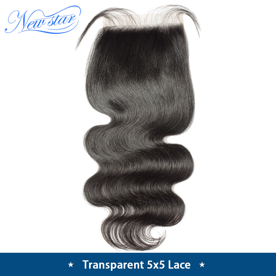Transparent Lace Virgin-Hair Closure Brazilian Free-Part Body-Wave New 5x5 Star