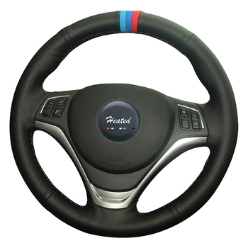 DIY genuine leather Steering Wheel Covers for BMW X1 2014 2015 Extremely soft Leather braid on the steering-wheel