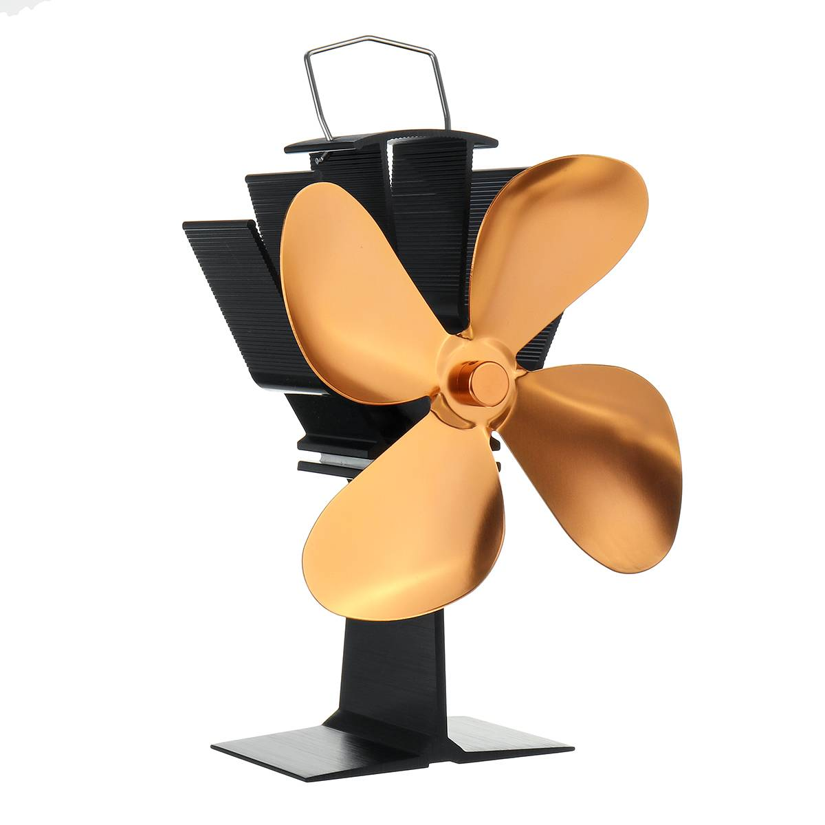 Golden Fireplace Fan 4 Blade Heat Powered Stove Fan Wood Burner Eco Friendly Quiet Fan Home Efficient Heat Distribution