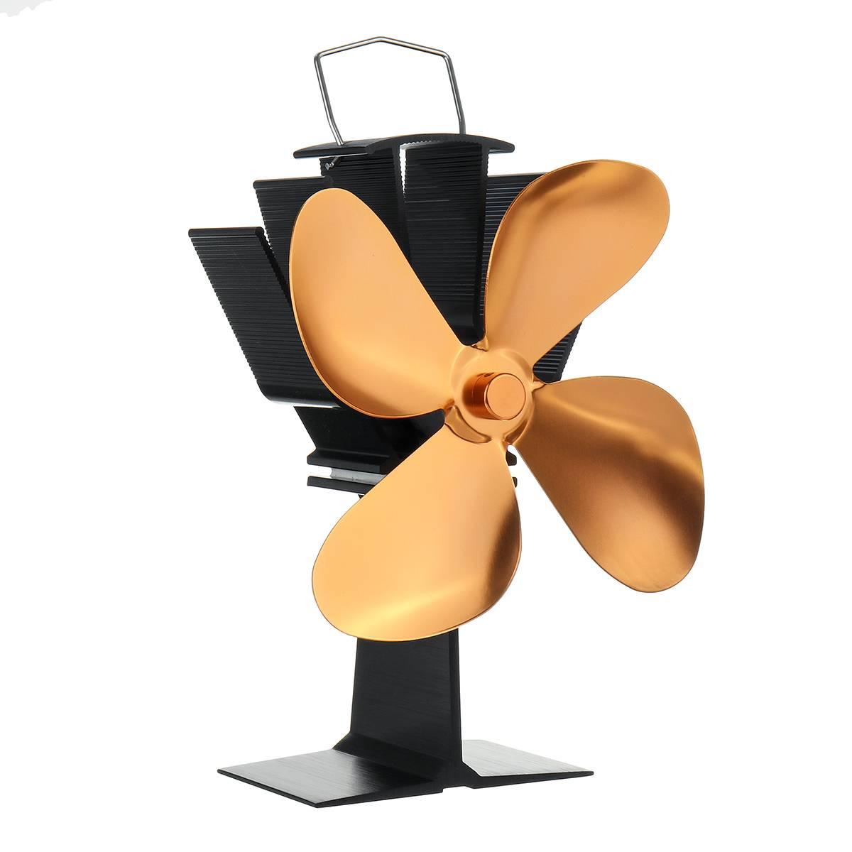 Golden Fireplace Fan 4 Blade Heat Powered Stove Fan Wood Burner Eco Friendly Quiet Fan Home Efficient Heat Distribution
