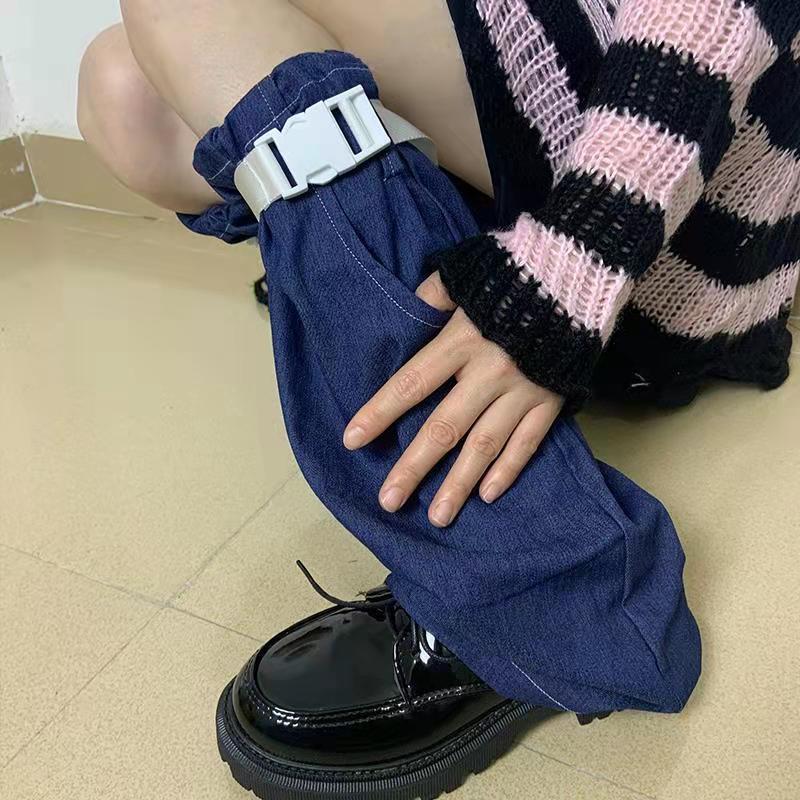 Lady Jk Student Punk Gothic Pocket Adjustable Plastic Buck Belt Blue Hip-hop Sock Women Denim Cool Hipster Leg Warmer 2021 Rock