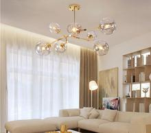 Nordic Glass led Chandelier Lighting Modern ball Hanging Lamp for Dining Room Kitchen Chandeliers Ceiling Lustre light fixture modern led lustre chandelier hanglamp remote control chandeliers hanging lighting dining room restaurant office light fixture