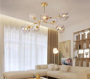 Nordic Glass led Chandelier Lighting Modern ball Hanging Lamp for Dining Room Kitchen Chandeliers Ceiling Lustre light fixture modern led chandelier lighting transparent glass bubble ball chandeliers for living room lustre de cristal lustre para sala lamp