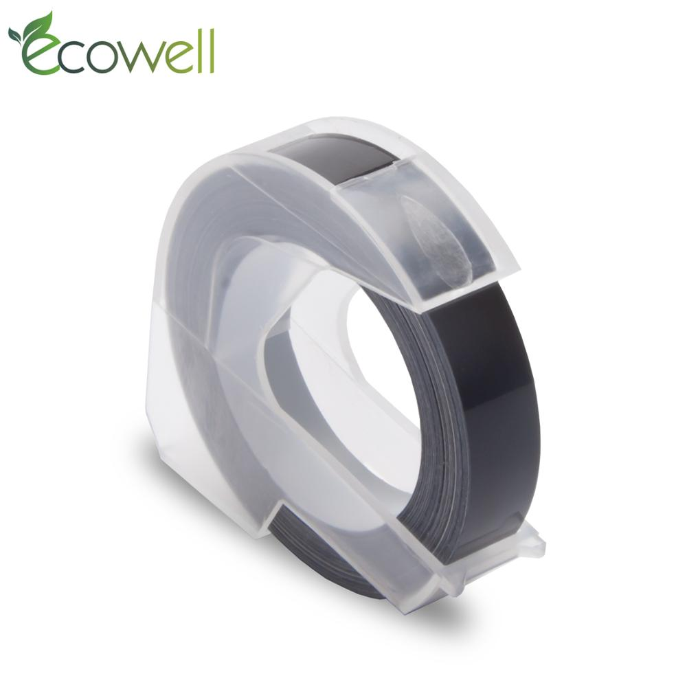 Ecowell Black Color 3D Embossing PVC Tape For Dymo 1540,1610,1880, 154000, 814580,S0717900, S0717910,S0717930 Label Makers 1pcs