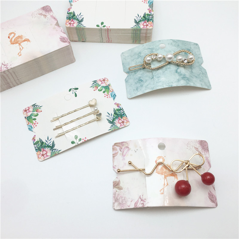 100Pcs MultiDesign New Arrival Jewelry Package & Display Cards Paper Girl's Hair Clip Cards Paper Hair Ornaments Packing Card