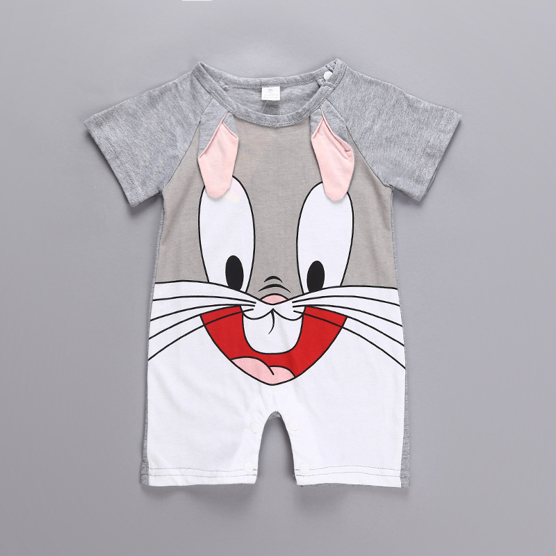 H4612c0492e2f49aca157272c02a193e4q Newborn baby cotton rompers lovely Rabbit ears baby boy girls short sleeve baby costume Jumpsuits Roupas Bebes Infant Clothes