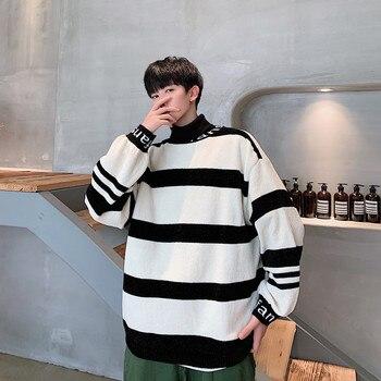 Winter New High Collar Sweater Men Fashion Contrast Color Striped Casual Knit Sweater Man Streetwear Wild Loose Warm Sweater цена 2017