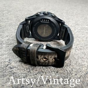 Image 5 - YOOSIDE 26mm 22mm rapide ajustement Vintage en cuir véritable bracelet de montre pour Garmin Fenix 6X/5X Plus/Fenix 3/Forerunner 935/Fenix 5