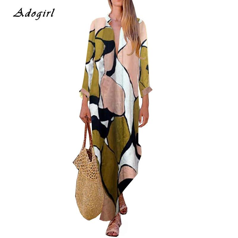 Autumn Vintage Print Long Shirt Dress Women Casual Long Sleeve Turn down Collar Slit Women Dress Elegant Outwear Dress Vestidos in Dresses from Women 39 s Clothing