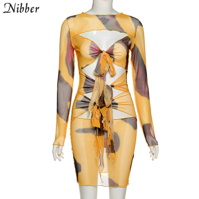 Nibber Vintage Sexy See-Through Bandage Clother Woman Fall Chic Casual Mesh Streetwear Bodycon Club Cut Out Hole  Mini Dress New 4