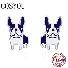 COSYOU Hot Sale Genuine 925 Sterling Silver French Bulldog Small Stud Earrings for Women Sterling Silver Jewelry Brincos SCE328(China)