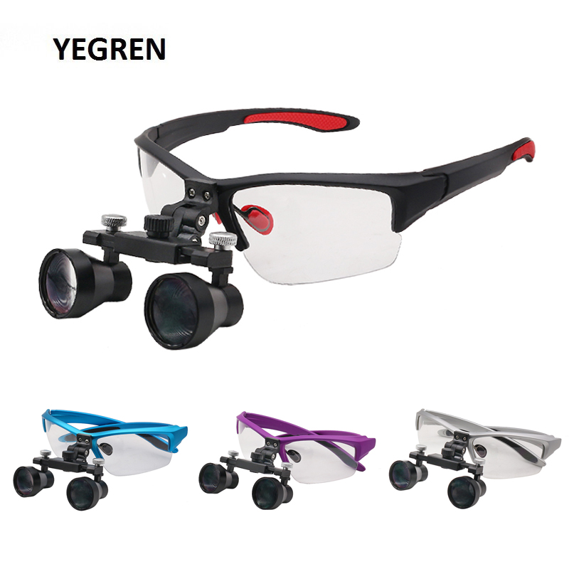 2.5X Binocular Loupes 420-620 Mm Dental Loupe W/ Ultralight Goggles Long Working Distance Medical Magnifier Eyeglass Protection