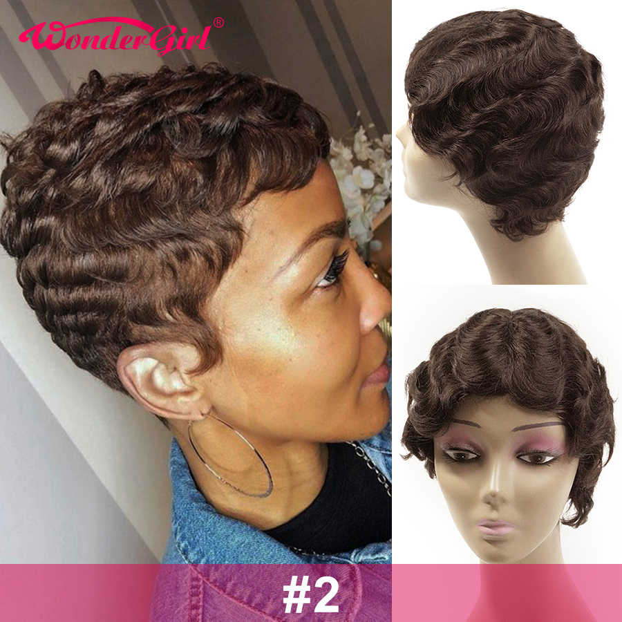 Wonder Girl Short Bob Wigs Natural Finger Wave Hairline Human Hair Wigs For Black Women Remy Brazilian Pixie Cut Wig Ocean Wave