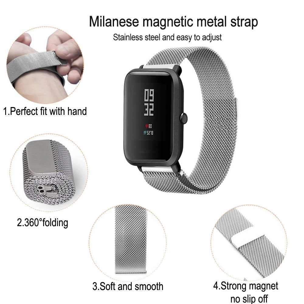 Metallo Milanese Loop Banda per Xiaomi Huami AMAZFIT Stratos 2 2s Ritmo della cinghia 22 MILLIMETRI wristband per Amazfit GTR 47 cintura in Acciaio Inox