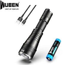 WUBEN L60 LED zoom latarka USB latarka akumulatorowa 1200 lumenów 18650 baterii IP68 wodoodporna LED 5 tryby oświetlenia do obozu