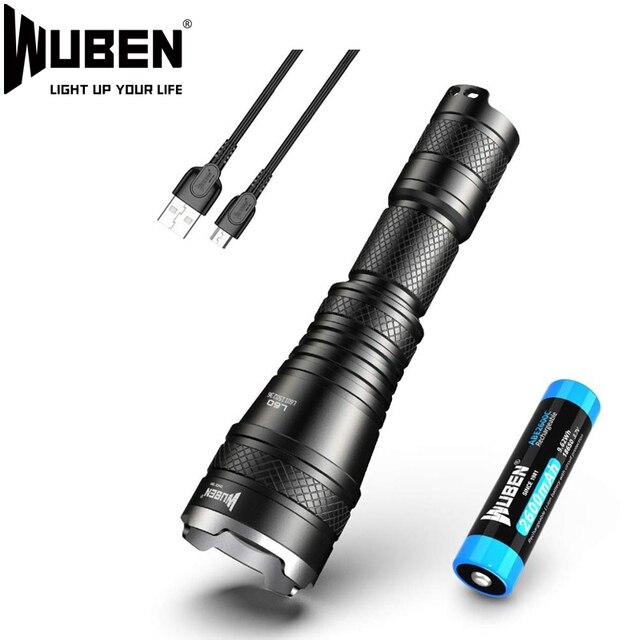 WUBEN L60 LED zumlanabilir el feneri USB şarj edilebilir meşale 1200 lümen 18650 pil IP68 su geçirmez LED 5 aydınlatma modları kamp için