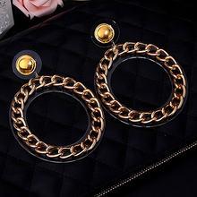 Массивные большие акриловые круглые серьги кольца на цепочке